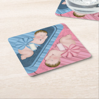 Gender Reveal Baby Shower Party Coasters