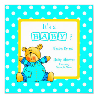 Gender Reveal Baby Shower Teal Blue Yellow Bear 13 Cm X 13 Cm Square Invitation Card