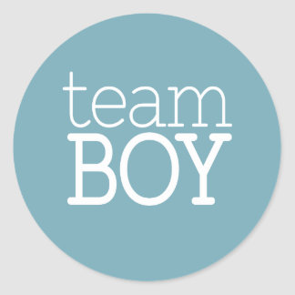 Gender Reveal Baby Shower - Team Blue Boy Round Sticker