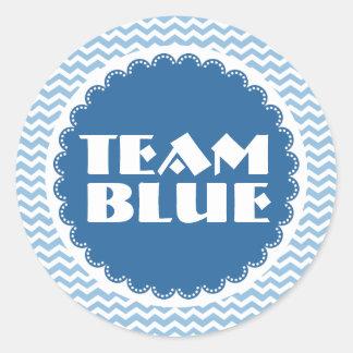 Gender Reveal Baby Shower Team Blue Chevrons Round Sticker