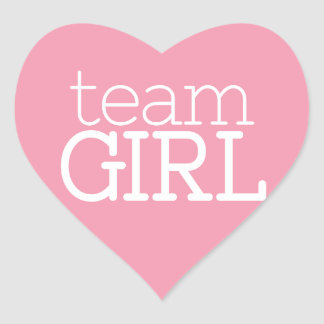 Gender Reveal Baby Shower - Team Pink Girl Heart Sticker