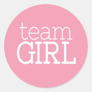 Gender Reveal Baby Shower - Team Pink Girl Round Sticker