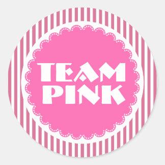 Gender Reveal Baby Shower Team Pink with Stripes Round Sticker