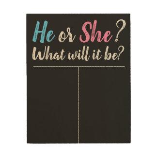 Gender Reveal Board, Voting Board, He or She? Wood Print