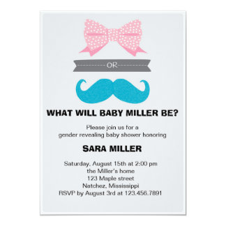 Gender reveal Bows or Staches Baby Shower 13 Cm X 18 Cm Invitation Card