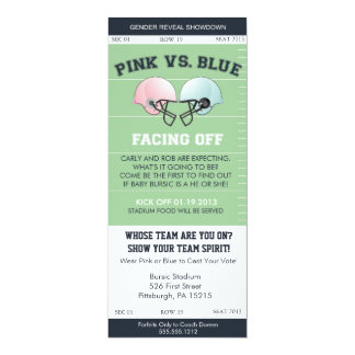 Gender Reveal Football Ticket Baby Shower Invitati Card