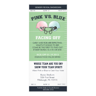 Gender Reveal Football Ticket Baby Shower Invitati Personalized Announcement