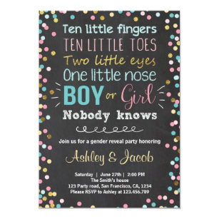 Gender Reveal Invitation Baby Shower Boy Or Girl