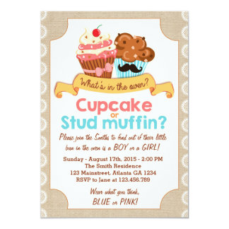 Gender reveal invitation Shower Cupcake or Muffin