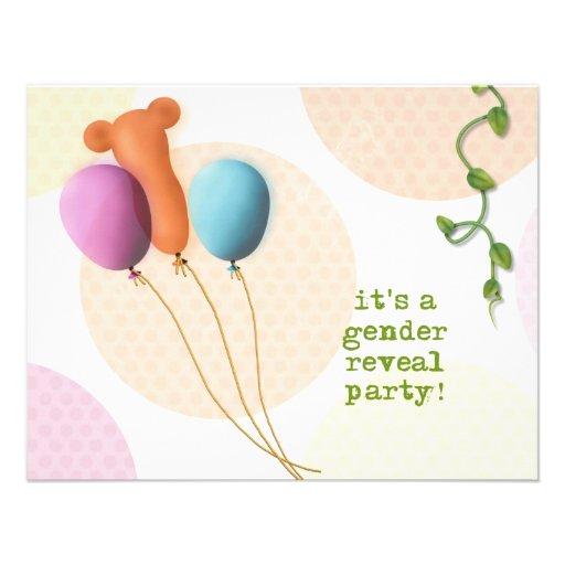 Gender Reveal Invitations - Balloons - 4.25x5.5