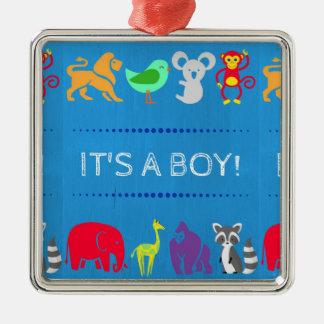 Gender Reveal Ornament: Boy Metal Ornament