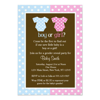 "Gender Reveal Party Baby Shower Invitations 5"" X 7"" Invitation Card"