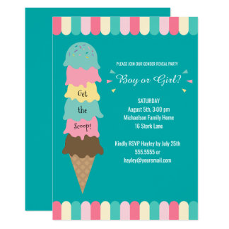 Gender Reveal Party Heres the Scoop Ice Cream Teal Card