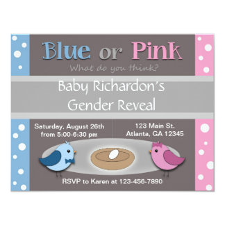 Gender Reveal Party Invitation (Birds in Nest)