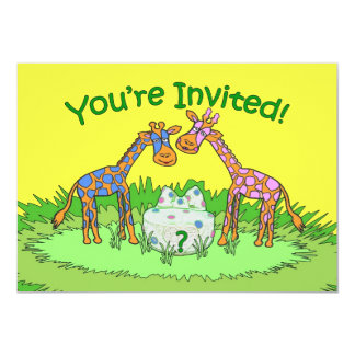 Gender Reveal Party Invitation, Giraffes Card