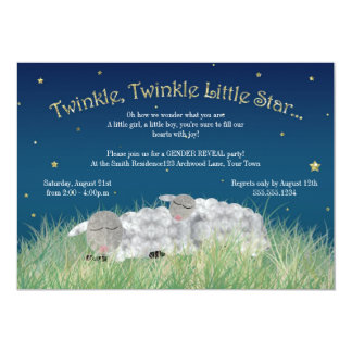 "Gender Reveal Party Twinkle Little Star Cute Sheep 5"" X 7"" Invitation Card"