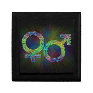 Gender symbols. small square gift box