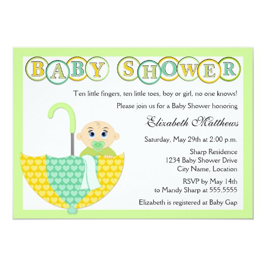 Gender Unknown Umbrella Baby Shower Invitation | Zazzle
