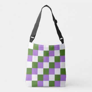 Genderqueer colors checkered pattern crossbody bag
