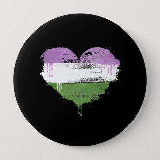GENDERQUEER HEART - GENDERQUEER LOVE - 10 CM ROUND BADGE