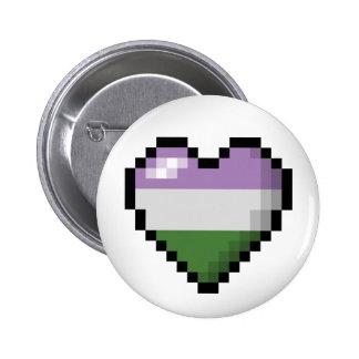 Genderqueer Pixel Heart 6 Cm Round Badge