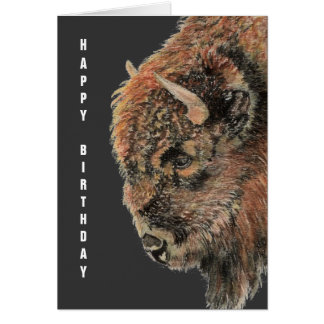 General Birthday Buffalo, Bison, Watercolor Animal Card
