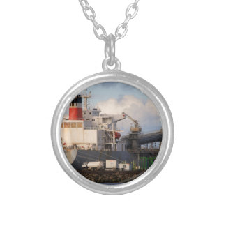 General cargo ship silver plated necklace