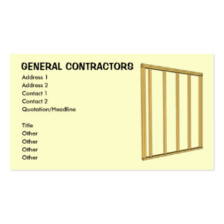 General Contractors Pack Of Standard Business Cards