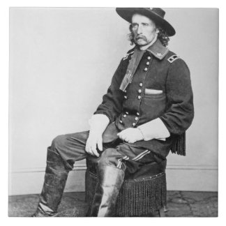 General George A. Custer (b/w photo) Large Square Tile