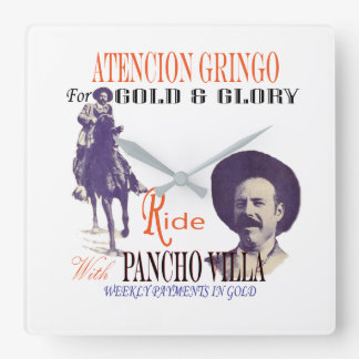 General Pancho Villa Mexican Hero Square Wall Clock