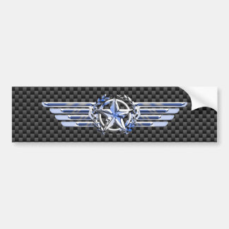 General Private Air Pilot Chrome Like Star Wings Bumper Sticker