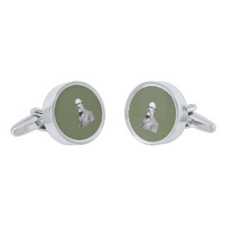 General Robert E. Lee  Army Green Silver Finish Cuff Links