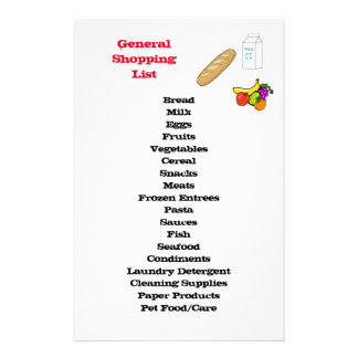 General Shopping List Stationery