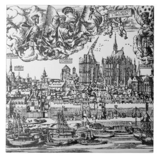 General View of Cologne, 1531 (engraving) (b/w pho Large Square Tile