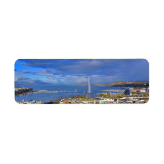 general view of geneva the city and sky blue return address label