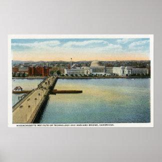 General View of MIT and Harvard Bridge Poster