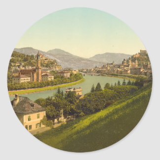 General View of Salzburg, Austria Classic Round Sticker