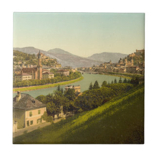 General View of Salzburg, Austria Small Square Tile