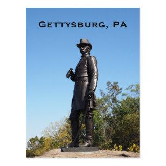 General Warren statue in Gettysburg PA Postcard
