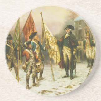 General Washington Inspecting the Captured Colors Beverage Coaster