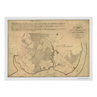 General Washington's Farm Mt Vernon Map 1801 Poster