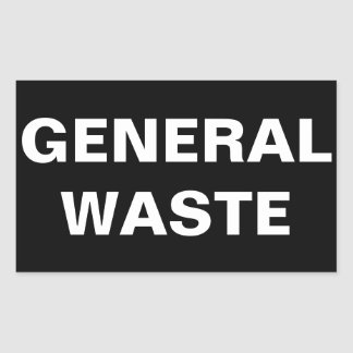 General Waste Sign Rectangular Sticker