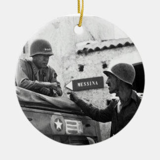Generaly George S. Patton and Colonel Lyle Bernard Ceramic Ornament
