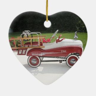 Generic Childs Metal Pedal Car Firetruck Car Ceramic Heart Decoration