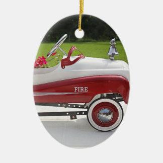 Generic Childs Metal Pedal Car Firetruck Car Ceramic Oval Decoration