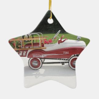 Generic Childs Metal Pedal Car Firetruck Car Ceramic Star Decoration