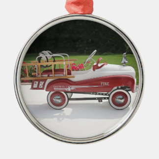 Generic Childs Metal Pedal Car Firetruck Car Silver-Colored Round Decoration