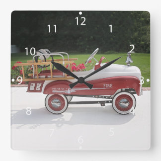 Generic Childs Metal Pedal Car Firetruck Car Square Wall Clock