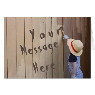 Generic Message Sunhat Boy Painting Fence Card