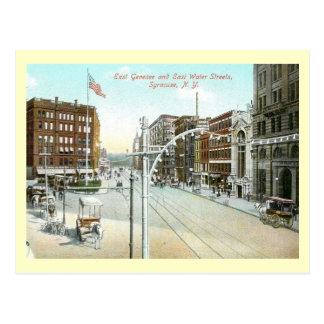 Genesee & Water Street, Syracuse, New York Vintage Postcard